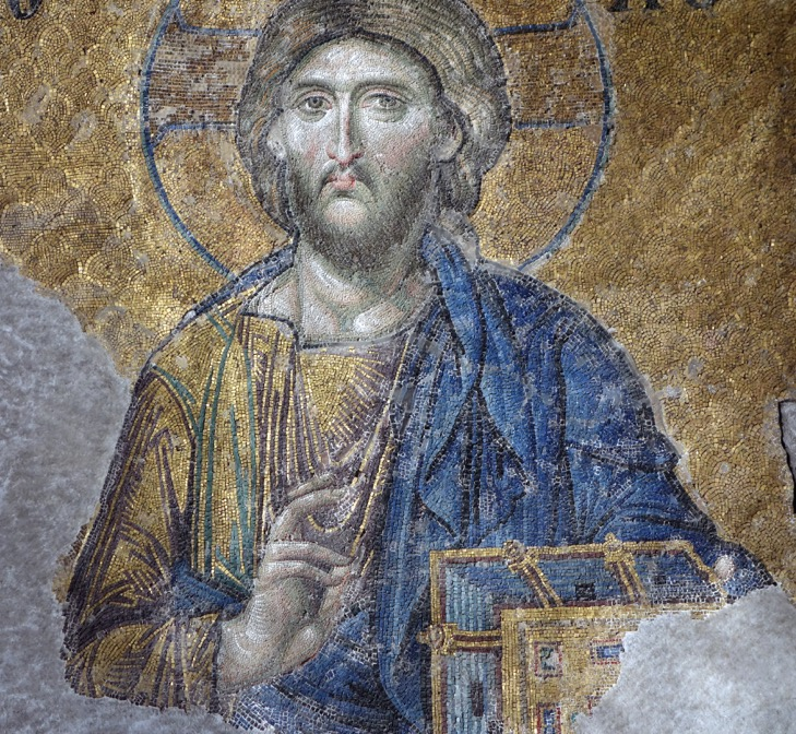 Agia Sophia mosaics in situ, showing the direction of light for the nearby window. 25. Detail, showing the directional lighting on the neck.