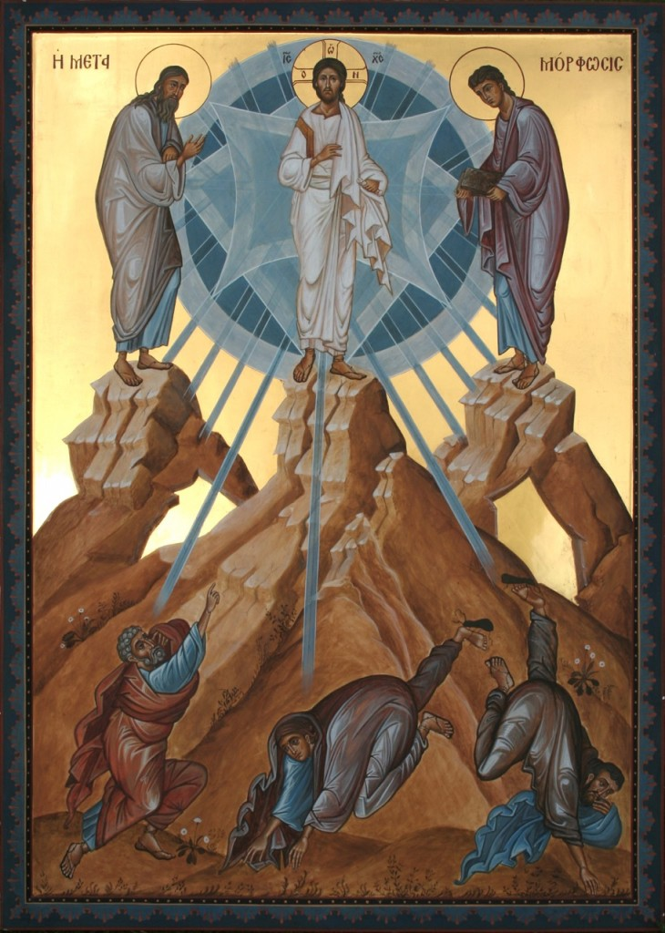 (26. The Transfiguration, showing the caves which are referred to in the Biblical and liturgical texts. By the author.)