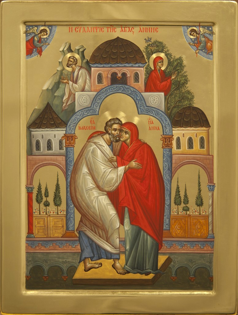 Ioachim and Anna. By Nun Olga, Rumania. An excellent example of an harmonious icon. The colours are rich but harmonious, the detail instructive but not distracting, and the design balanced without being rigid.