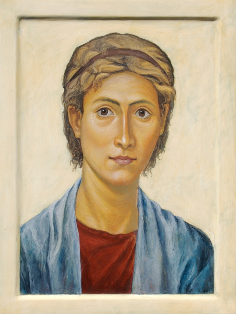 Portrait, by the author. Egg tempera.