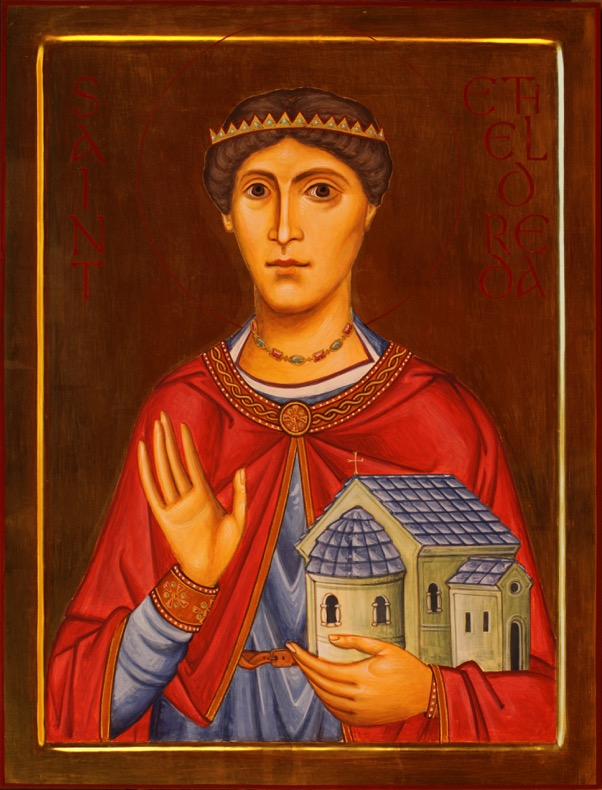 St Etheldreda of Hexham, by the author. In this icon I tried to import some elements from the above portrait, and from early iconography such as the 4th/5th century mosaics of the Rotunda, Thessaloniki.