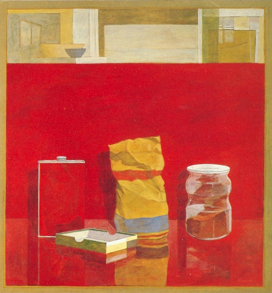 Markos Kampanis, Still Life in Red, 1986. Acrylic on Wood, 70 x 65 cm.