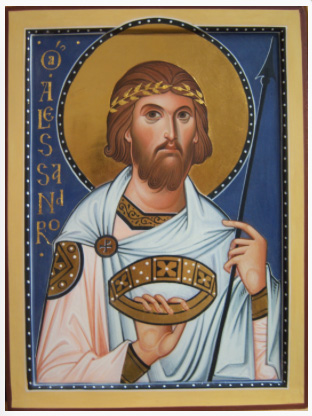St Alexander, by Ivan Polverani, Italy. This work shows the classical balance of movement (the slight turning of the head, rhythmic drapery, asymmetrical pose) and stillness (absence of exaggerated expression and gesture, harmonious colours, balance – the lance offsetting the lettering for example.)