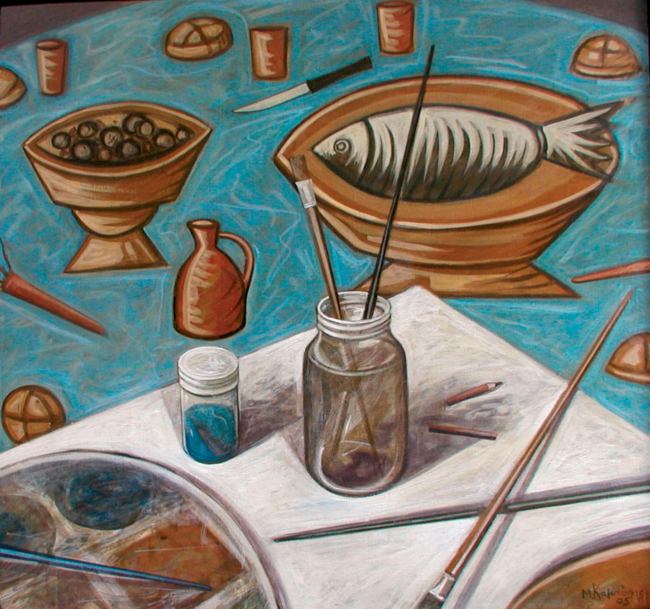 Markos Kampanis, The Last Supper Table, 2005. Acrylic on wood, 42 x 45 cm.
