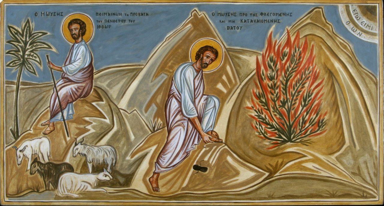 Markos Kampanis, portable mural, part of the life of Moses, St, Katherine's Monastery, Mt. Sinai, 2007.