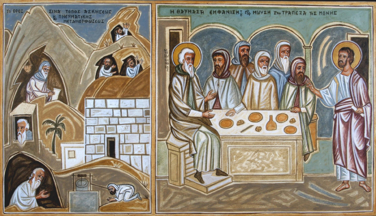 Markos Kampanis, Portable mural, part of the life of Moses, St. Katherine's Monastery, Mt. Sinai, 2007.