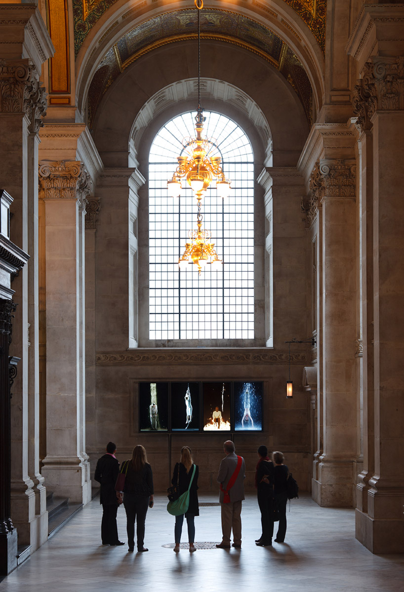Bill Viola (with Kira Perov), Martyrs (Earth, Air, Fire, Water), 2014. Video installation, St Paul's Cathedral, London. The first moving-image artwork to be installed in a British cathedral or church on a long-term basis. Created by Bill Viola and  and opened in May 2014