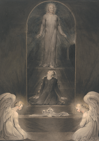 William Blake, Mary Magdalen at the Sepulchre, 1805. Watercolor with pen and black ink and gray ink on medium, moderately textured, cream wove paper,  17.24 in. x 12.24 in.