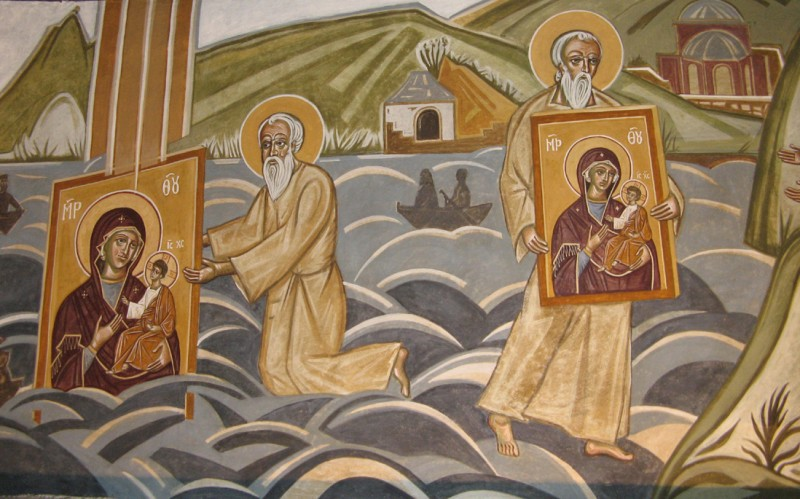 Markos Kampanis, Scene from the story of the icon of the Protaitissa, 2014. Mural at the Convent of the Virgin Mary, Kornofolia, Greece.