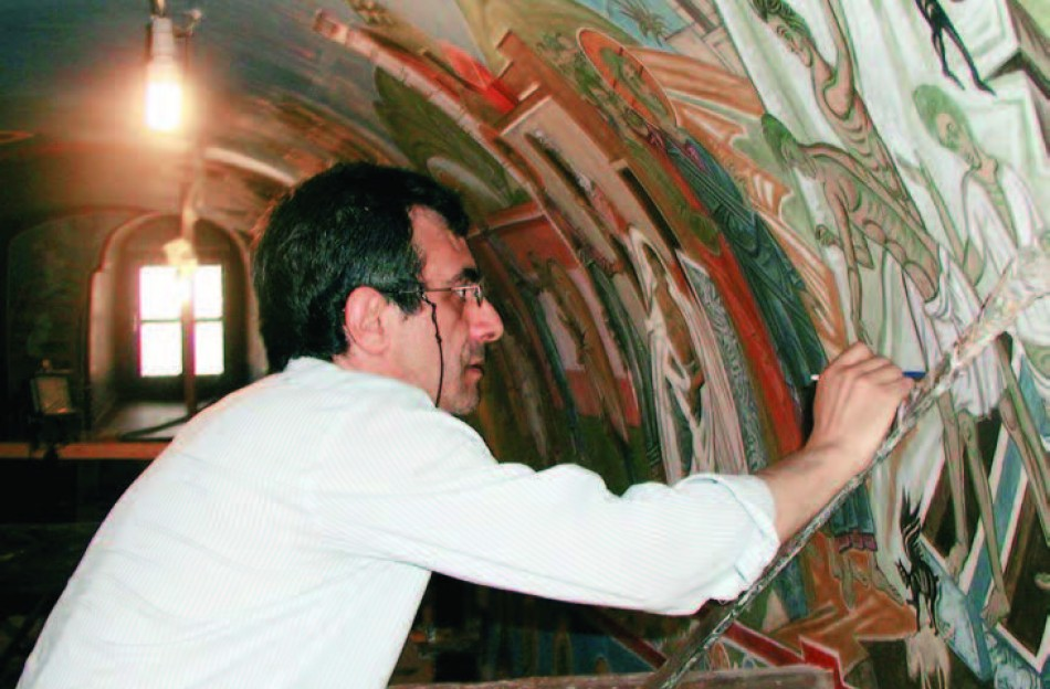 Markos Kampanis at work on the murals of the Convent of the Virgin Mary at Kornofolia in Evros, Greece.