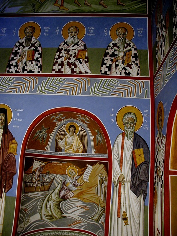 Markos Kampanis, Murals at the Convent of the Virgin Mary, Kornofolia, 2005. Casein and egg emulsion.