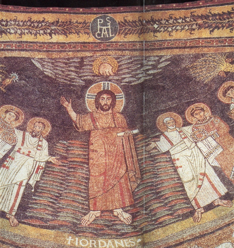 Christ, Sts Peter and Paul, Apse Mosaic, between 817 and 824, Church of St. Praxedes, Rome.