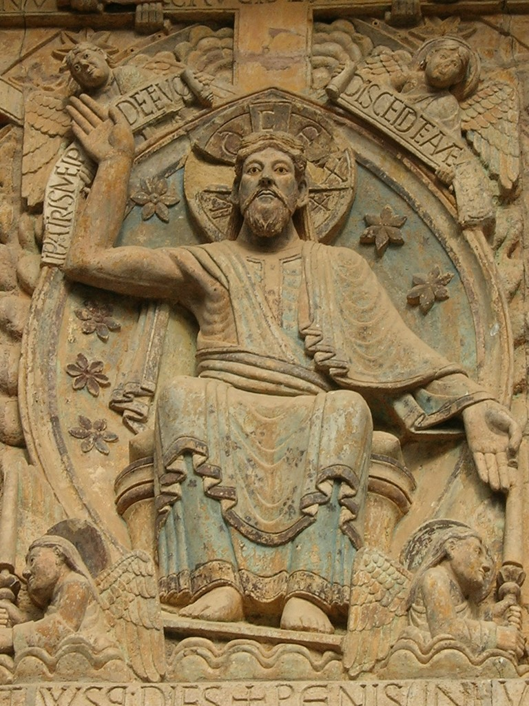 16. Christ Pantocrator in the Tympan the Church, Conques, France, 9th Century.17. Zoom, Cruciform Halo : REX [et] JUDEX