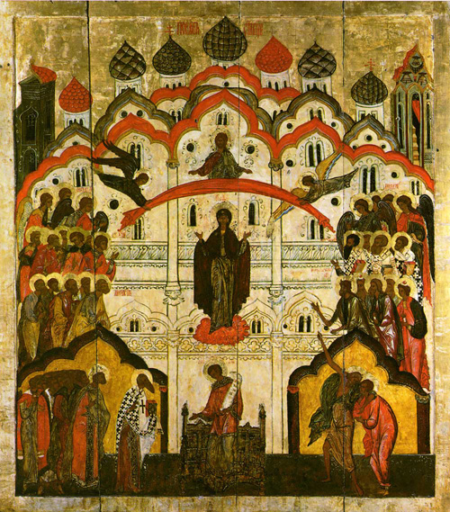 Protection of the Veil of the Theotokos.  16th century Russian.