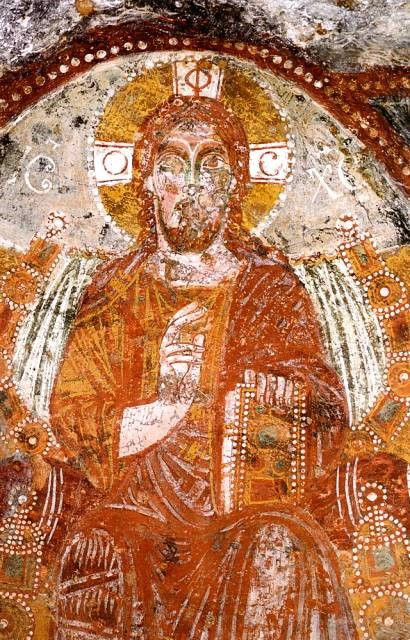 Cruciform Halo with PHOS. Christ Pantocrator, Fresco, Church of Sante Marina e Cristina, Carpignano, Italy, 12th Century.