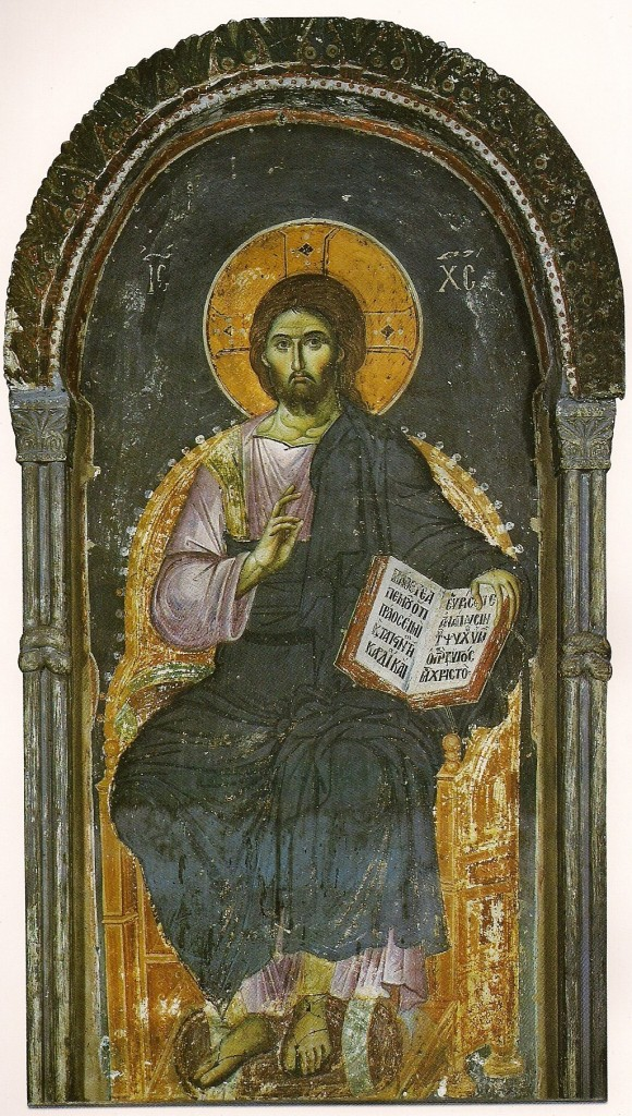 Christ Enthroned, the Protaton, Mount-Athos, attributed to Manuel Panselinos, 1290.