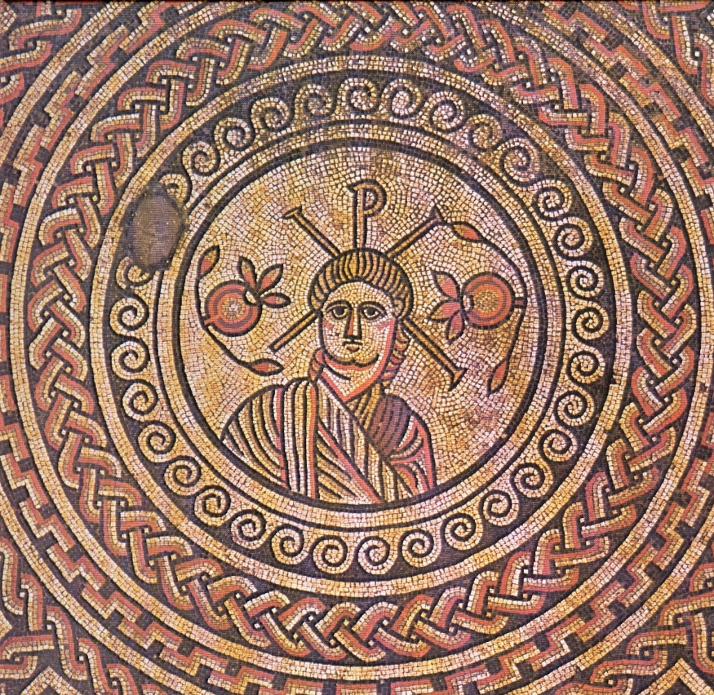 Bust of Christ, Mosaic Floor, England, 4th Century, No Halo but with XP behind His Head.