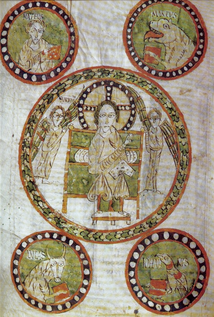 Christ in Majesty, Illuminated Parchment Gospels of Gundohinus, 754,Municipal Library, Autun, France.