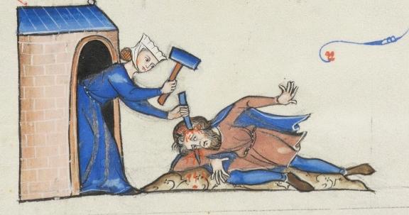 Jael kills Sisera. 13th century manuscript.