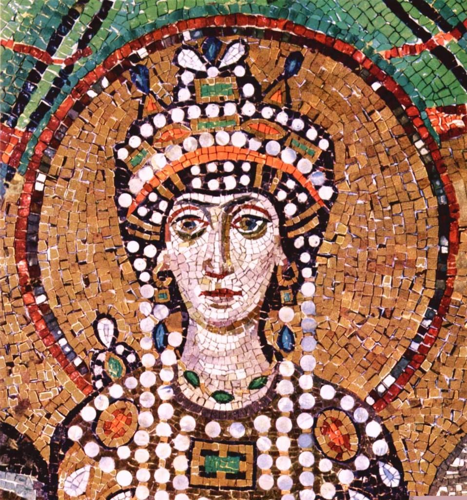 Famous mosaic of Theodora, 6th century Ravenna.