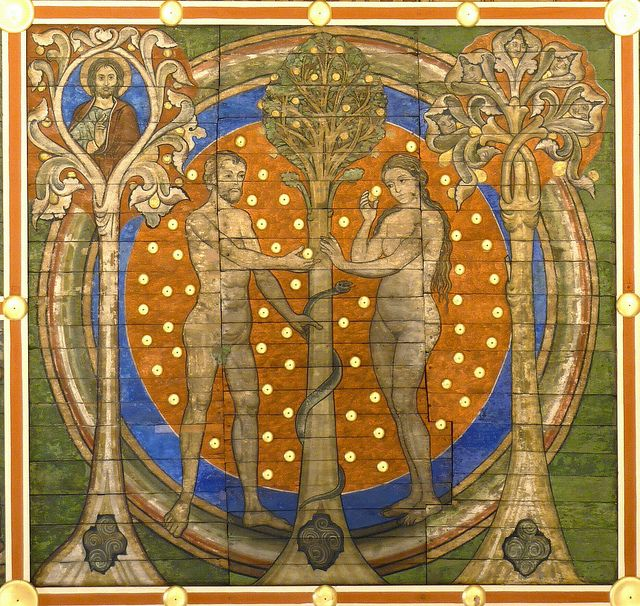 Eve gives Adam the Fruit of Knowledge.  12th century German fresco.