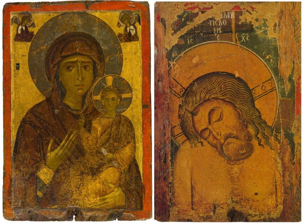 """12-13th century Byzantine icon of the Hodogetria, with the Man of Sorrows on the other side. H """"the one showing the way"""". The first versio of this icon, reputedly painted by St-Luke was brought out unto the walls of Constantinople and was credited in miraculously saving the city for the Arabs in 718."""