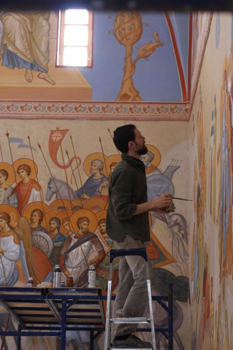 Anton, working on a fresco