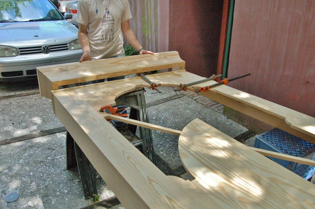 Assembling the central frame section.