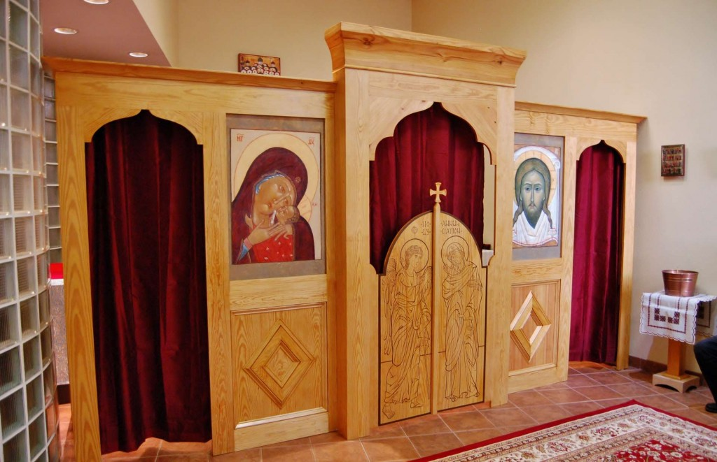 The iconostasis installed in the temporary meeting space of the mission community.