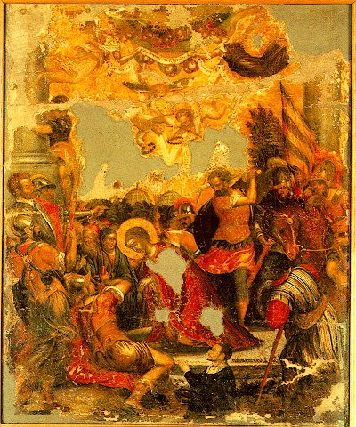 Decapitation of Aghia Paraskevi. Michael Damaskenos, 16th century.