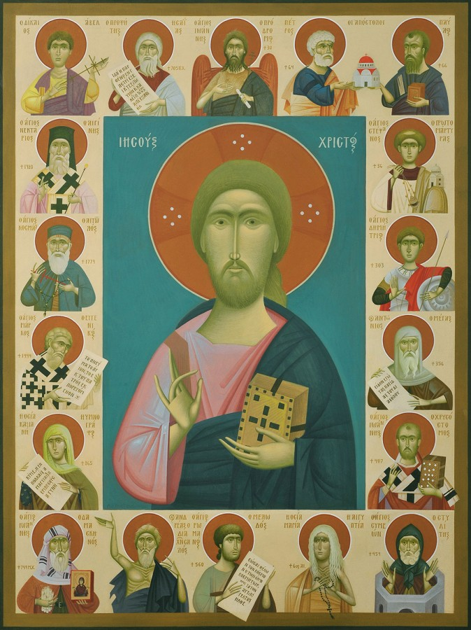 The History of Orthodoxy in Persons, by Fikos, 2012. Egg tempera on handmade Japanese paper glued to wood, 80×60 cm.