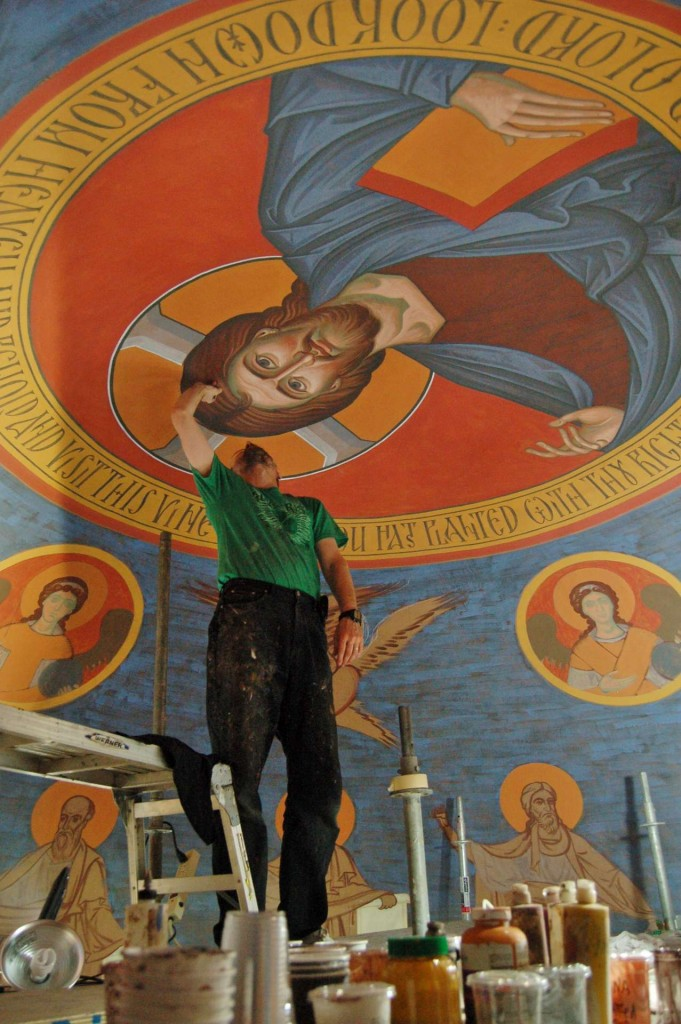 Vladimir painting the Pantocrator.
