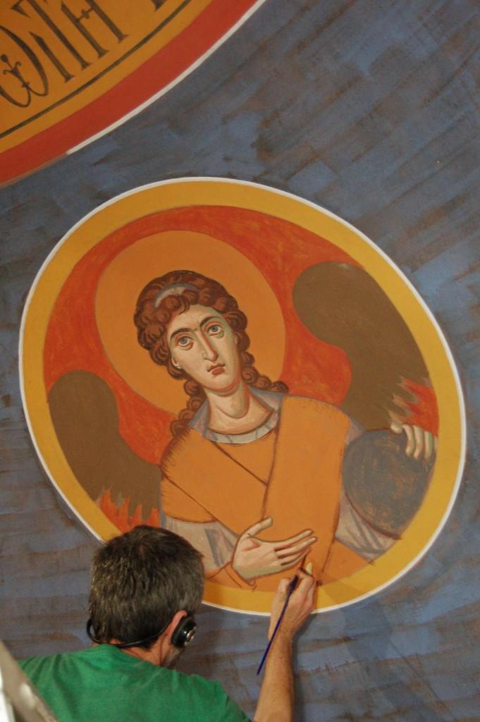 Vladimir painting the angels.