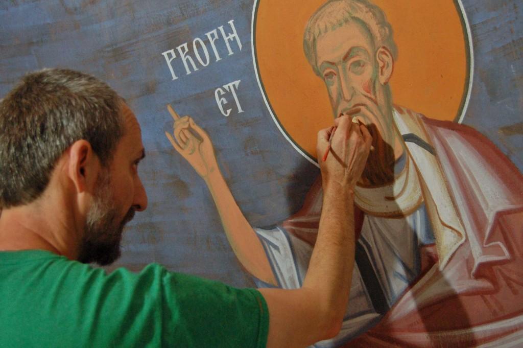 Vladimir painting a prophet.