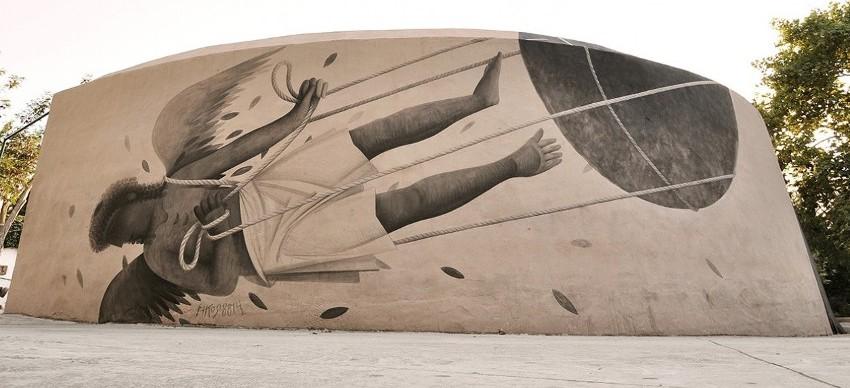 Ikarus, by Fikos, 2014. Acrylics on wall, 10×3 m . Ibiza, Spain.