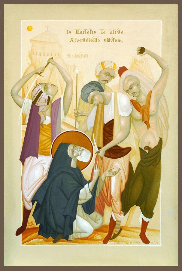 The Martyrdom of St Chrysostom of Smyrna, by Fikos, 2010. Egg tempera on handmade Japanese paper glued to wood, 48×33 cm.