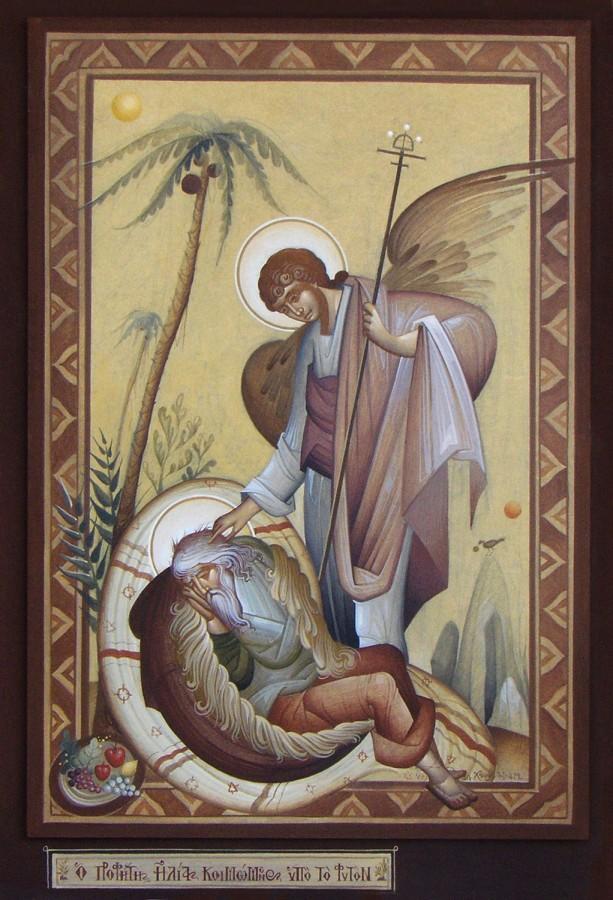 The Prophet Elijah Sleeping, by Fikos, 2008. Egg tempera on handmade Japanese paper glued to wood, 47×32 cm.