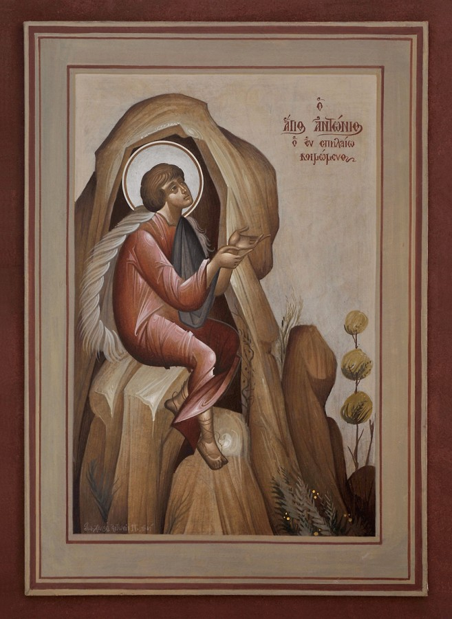 St. Anthony (One of the Seven Youths of Ephesus), 2008. Materials: Egg tempera on handmade Japanese paper glued to wood, 43×31 cm.