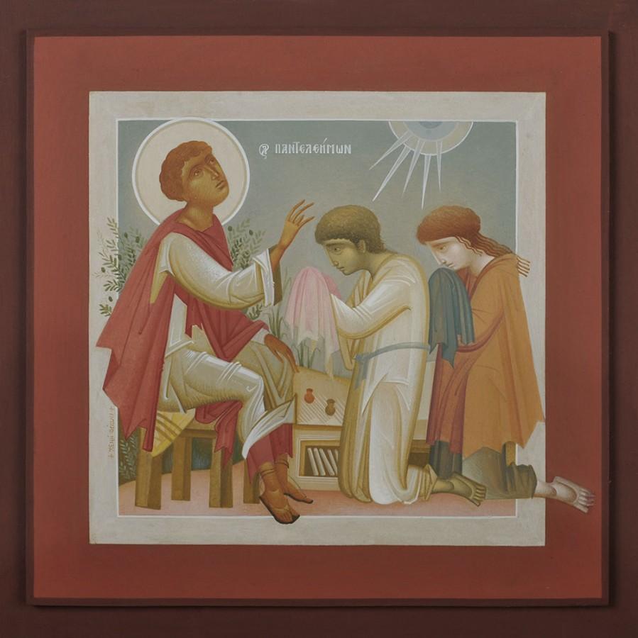 St. Pantaleimon Blessing Youth, by Fikos, 2010. Egg tempera on handmade Japanese paper glued to wood, 35×35 cm.