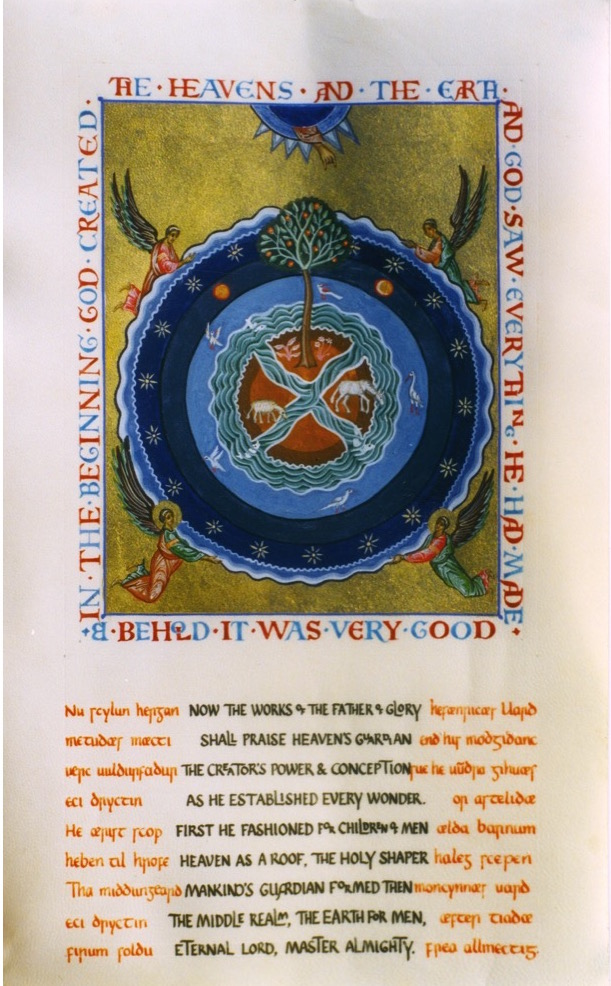 St Cadmon's hymn of creation. Aidan Hart, calligraphy Clive Tolley.. Vellum.