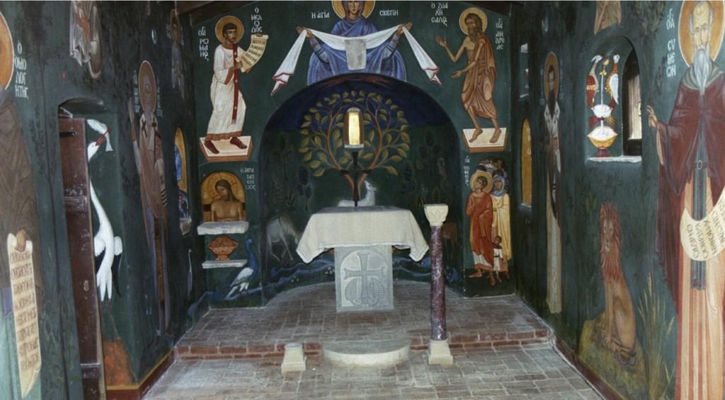 Philip and Denise Sherrard's Chapel of the Life Giving Spring, Evia, Greece. Aidan Hart. Fresco.