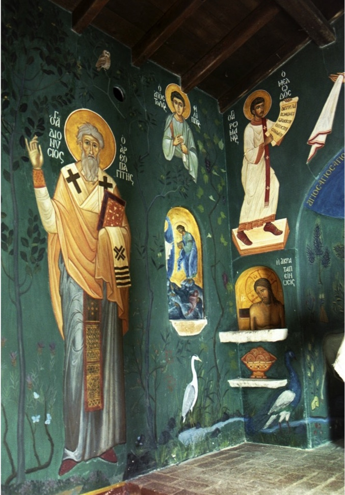 North east wall. Chapel of the Life Giving Spring, Evia, Greece. Aidan Hart. Fresco.