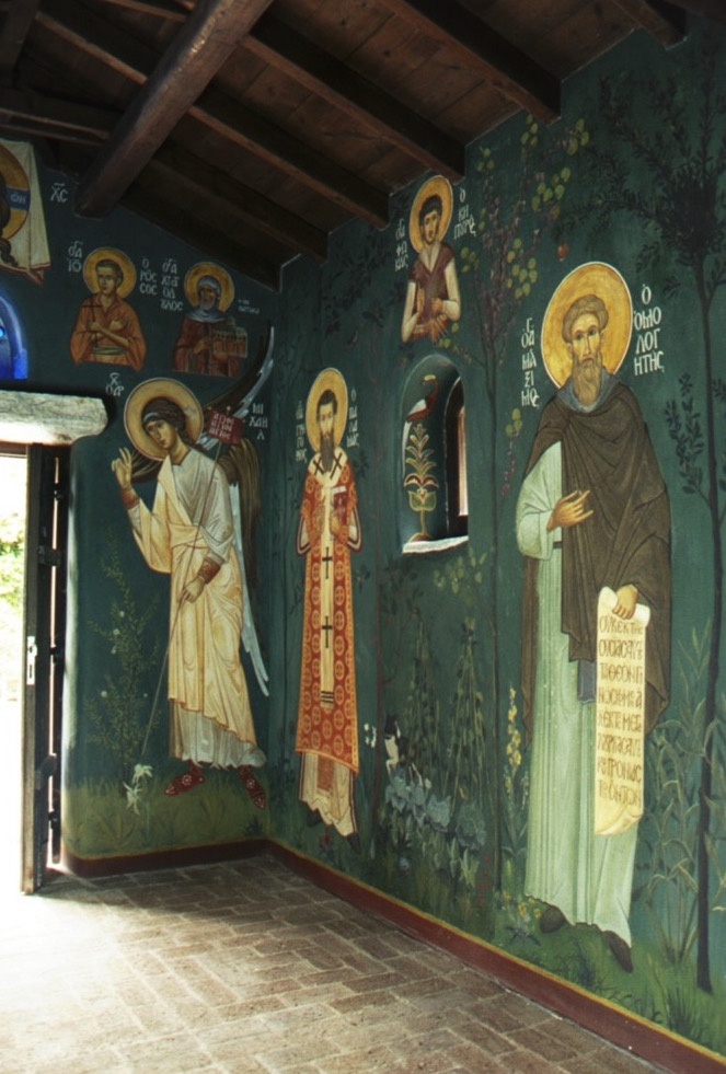 North and west walls, Chapel of the Life Giving Spring, Evia, Greece. Aidan Hart. Fresco.
