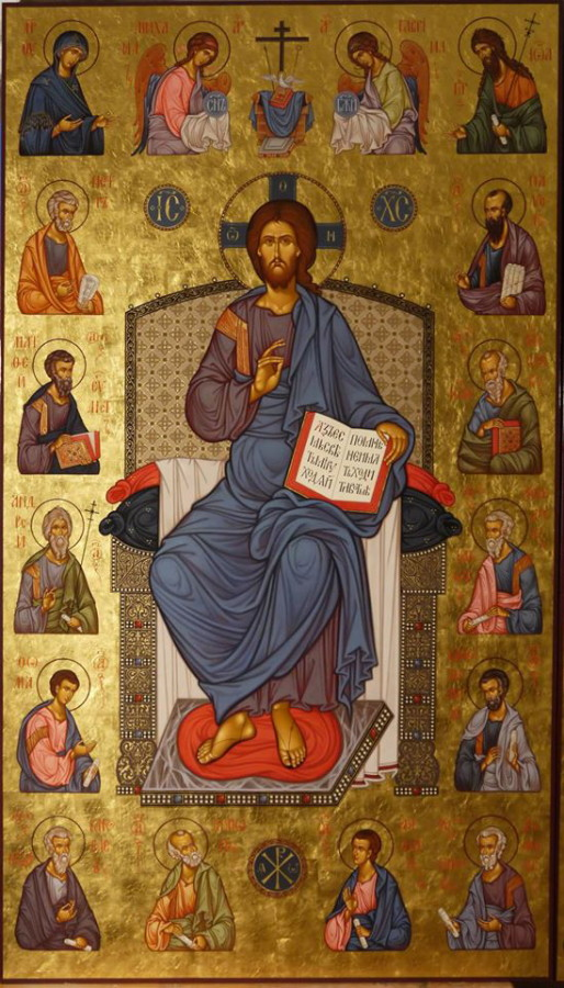 MAXIM SHESHUKOV, Christ Enthroned With Apostles. Egg tempera on gessoed panel.