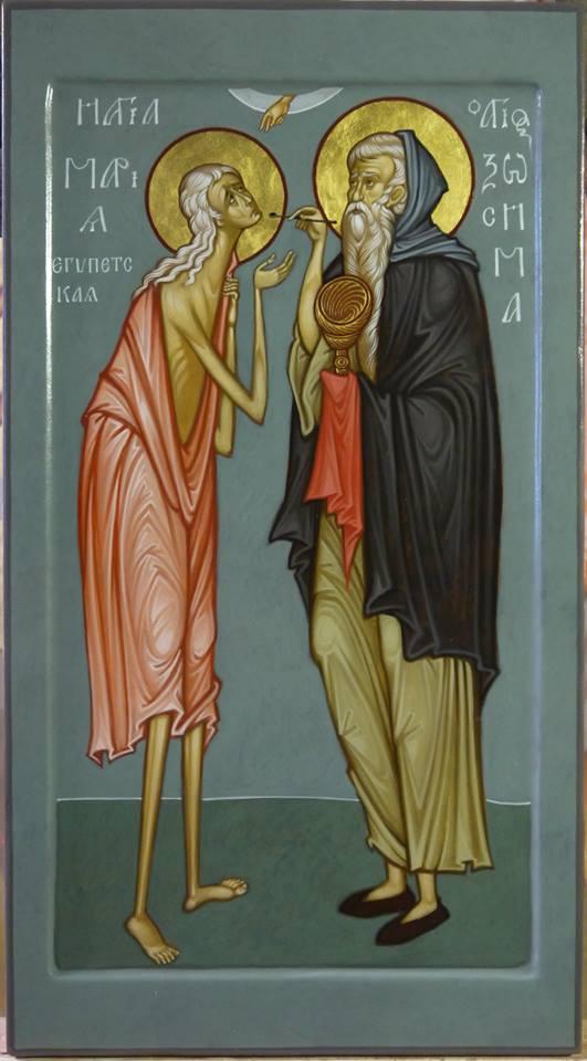 MAXIM SHESHAKOV, St. Mary of Egypt and St. Zosimas. Egg tempera on gessoed panel.