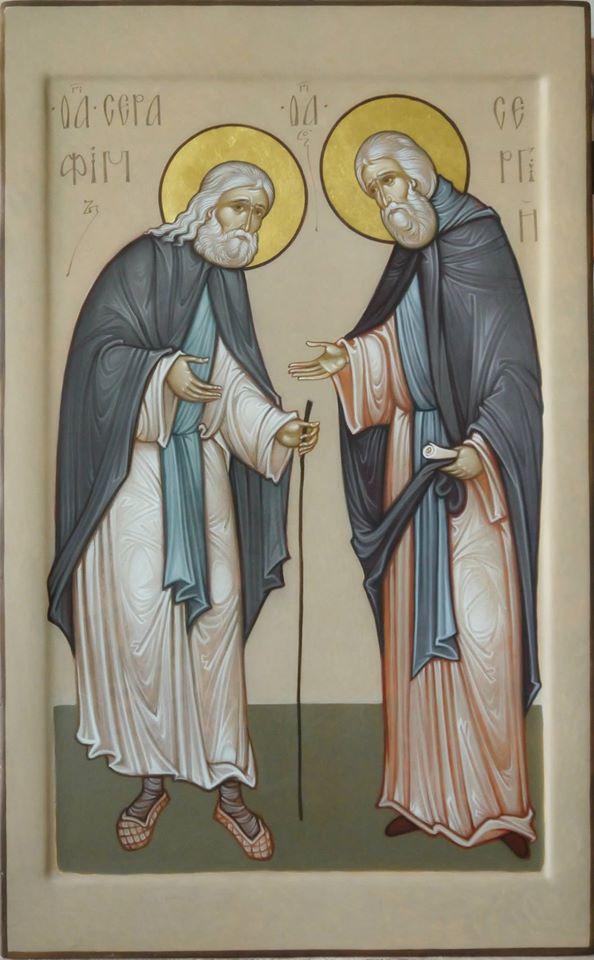 MAXIM SHESHAKOV, St. Seraphim of Sarov and St. Sergios of Radonezh. Egg tempera on gessoed panel.