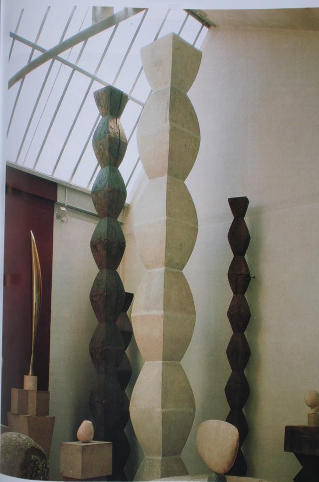 'Endless Columns', in Brancusi's studio, Paris.