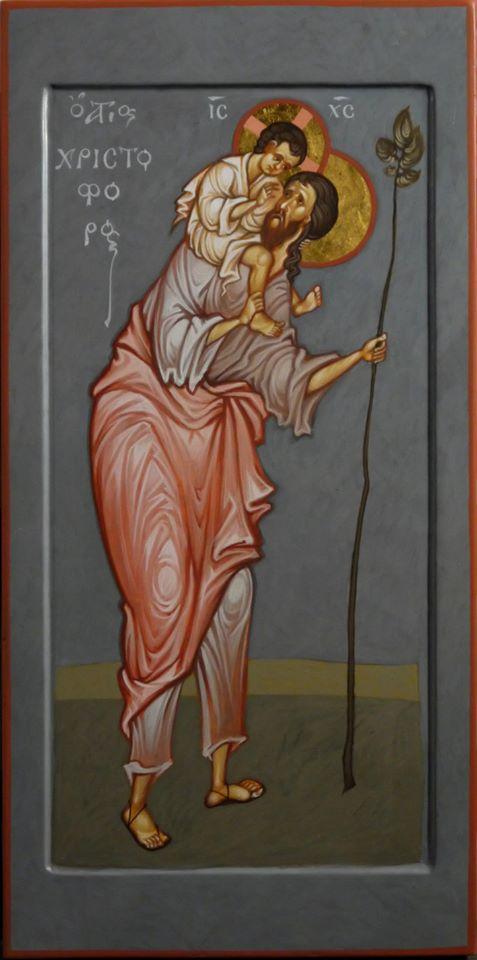 MAXIM SHESHAKOV, St. Christopher. Egg tempera on gessoed panel.
