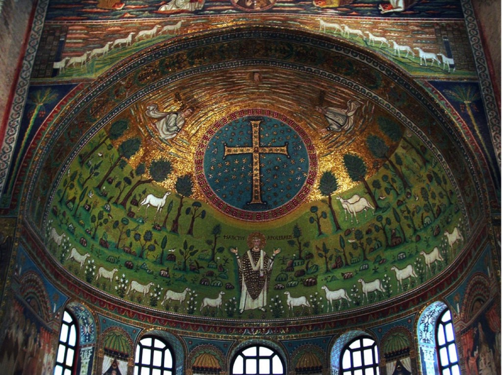 Sant'Apollinare in Classe apse (c. 534 AD). The Transfiguration; Paradise; the Second Coming; The New Jerusalem; Our Priestly role