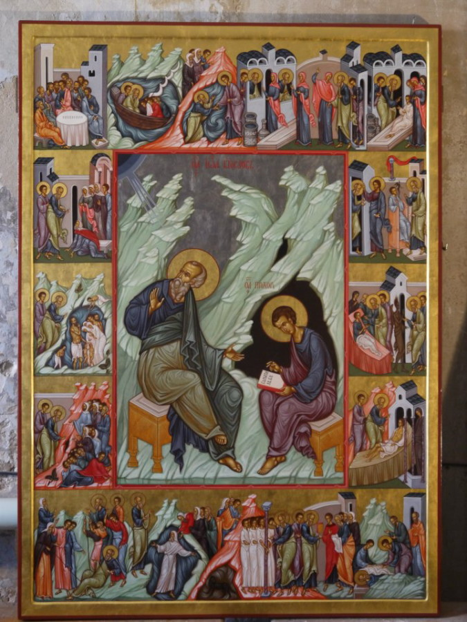 MAXIM SHESHAKOV, St. John the Theologian With Scenes From His Life. Egg tempera on gessoed panel.
